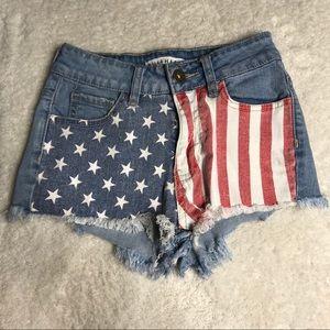 Bullhead Denim Size 22 American Flag Short Shorts